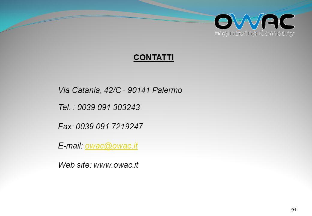 CONTATTI Via Catania, 42/C - 90141 Palermo. Tel. : 0039 091 303243. Fax: 0039 091 7219247. E-mail: owac@owac.it.