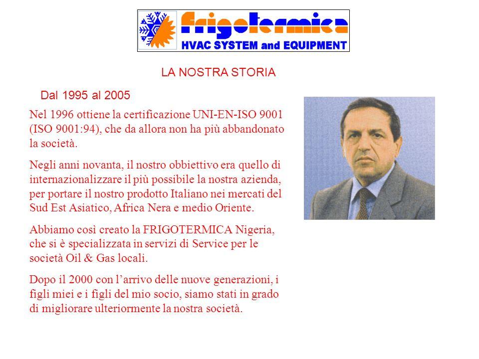 LA NOSTRA STORIA Nel 1996 ottiene la certificazione UNI-EN-ISO 9001 (ISO 9001:94), che da allora non ha più abbandonato la società.