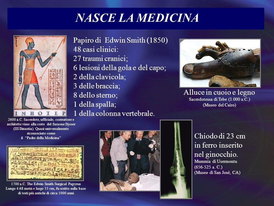 NASCE LA MEDICINA Papiro di Edwin Smith (1850) 48 casi clinici: