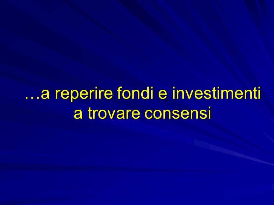 …a reperire fondi e investimenti a trovare consensi