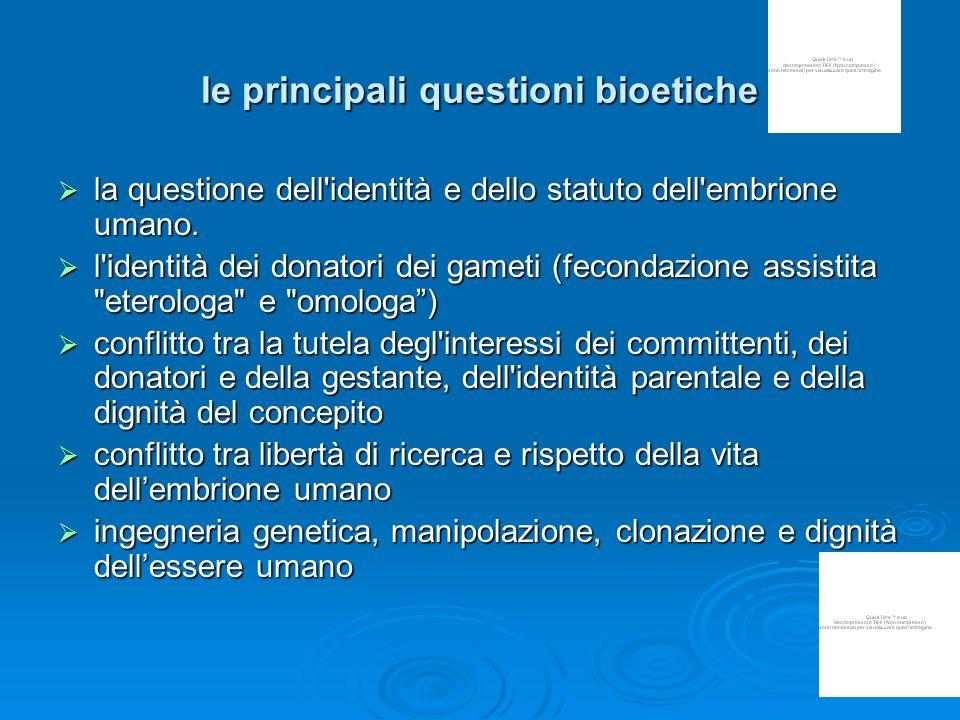 le principali questioni bioetiche