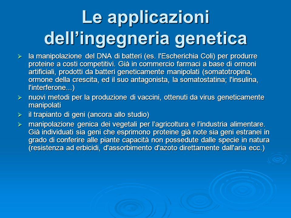 Le applicazioni dell'ingegneria genetica