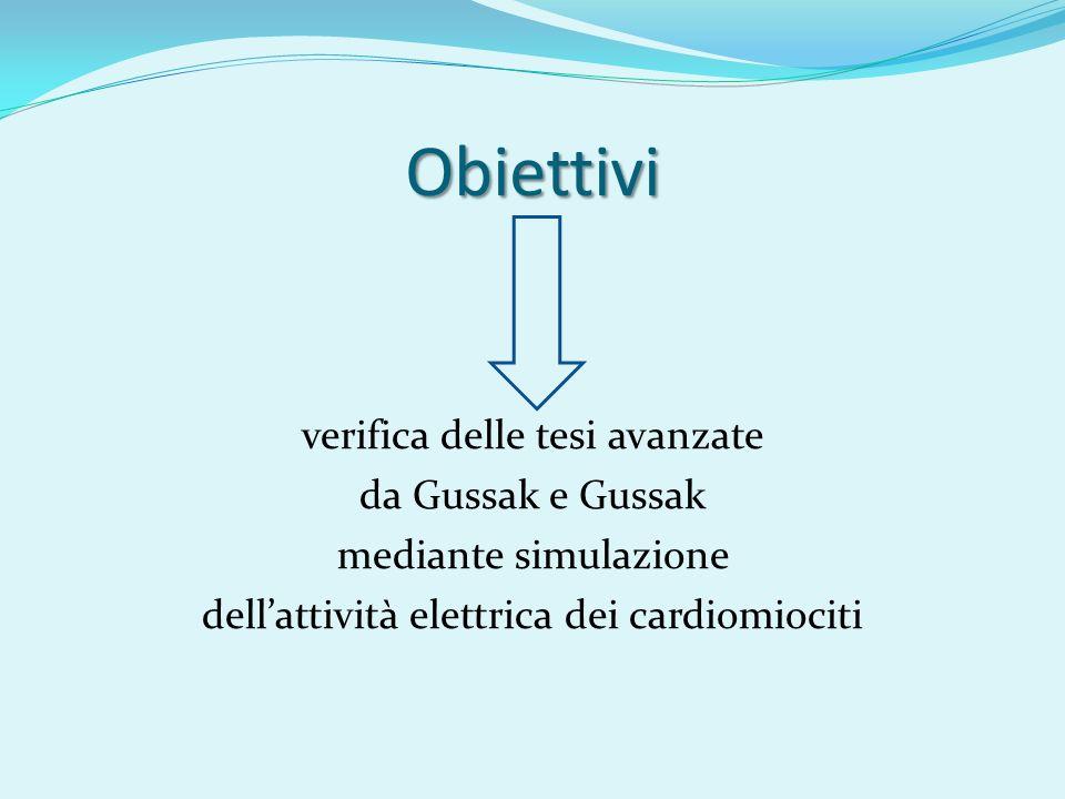Obiettivi verifica delle tesi avanzate da Gussak e Gussak mediante simulazione dell'attività elettrica dei cardiomiociti