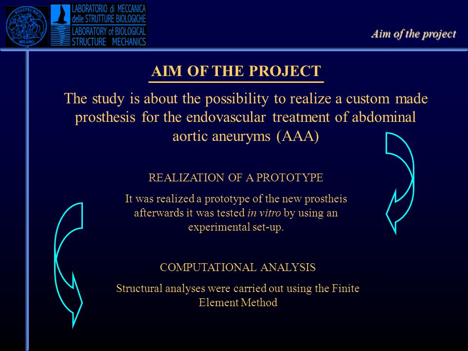 Aim of the project AIM OF THE PROJECT.