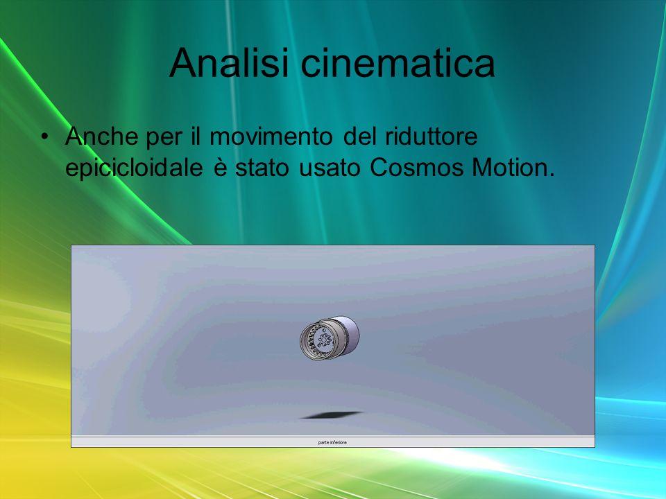 Analisi cinematica Anche per il movimento del riduttore epicicloidale è stato usato Cosmos Motion.