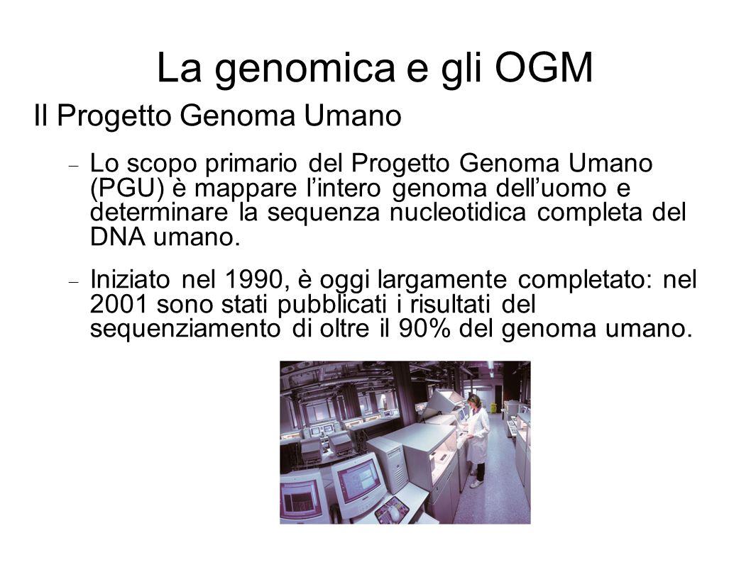 La genomica e gli OGM Il Progetto Genoma Umano