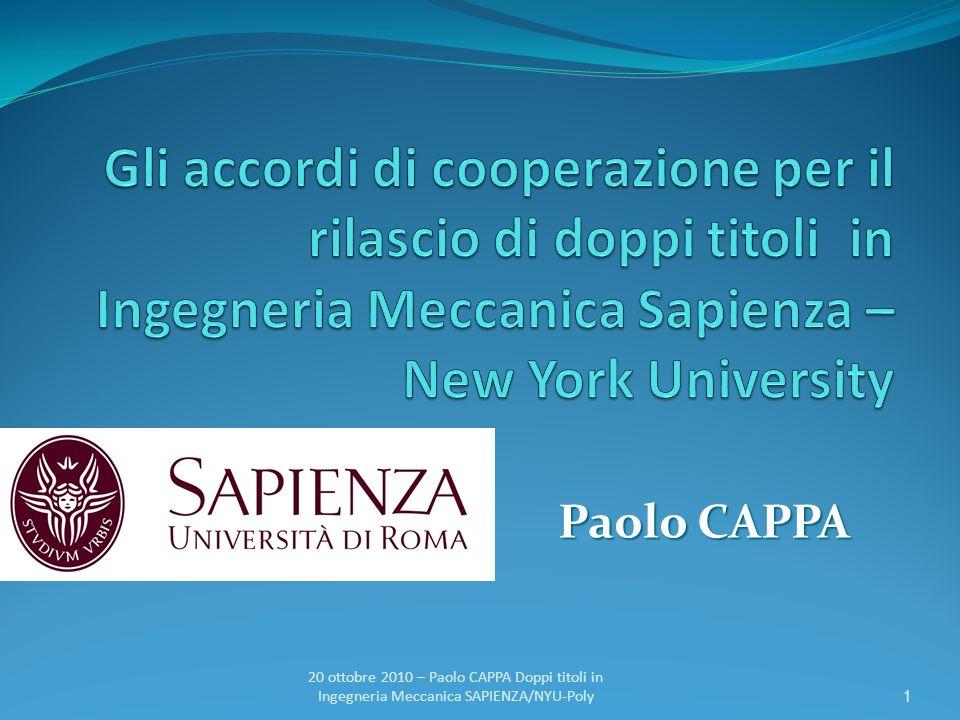 Gli accordi di cooperazione per il rilascio di doppi titoli in Ingegneria Meccanica Sapienza – New York University