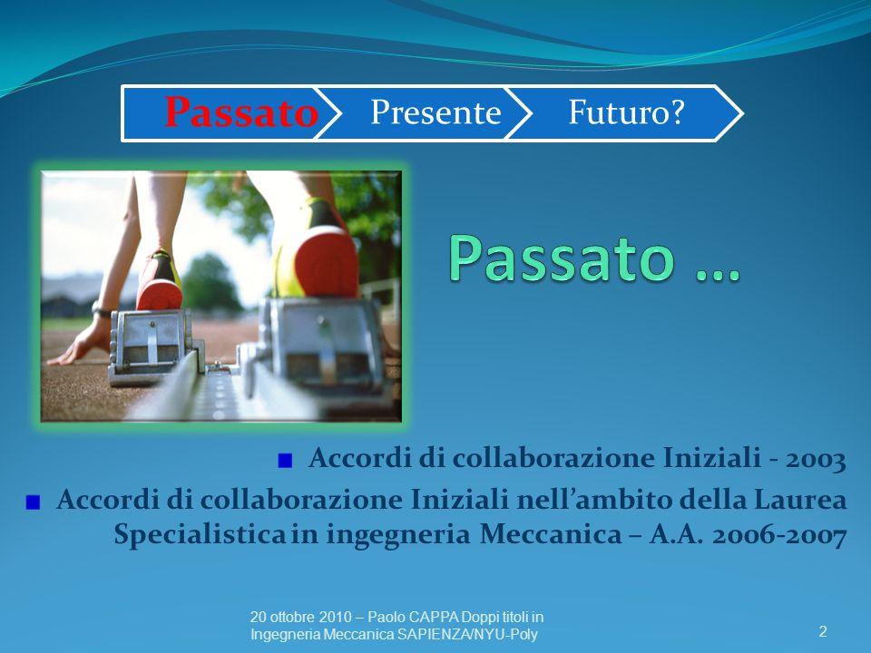 Passato … Passato Accordi di collaborazione Iniziali - 2003