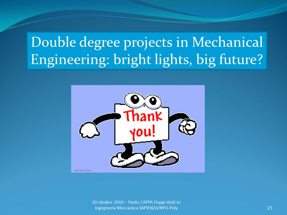 Double degree projects in Mechanical Engineering: bright lights, big future