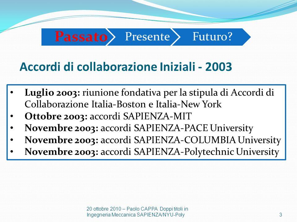 Accordi di collaborazione Iniziali - 2003