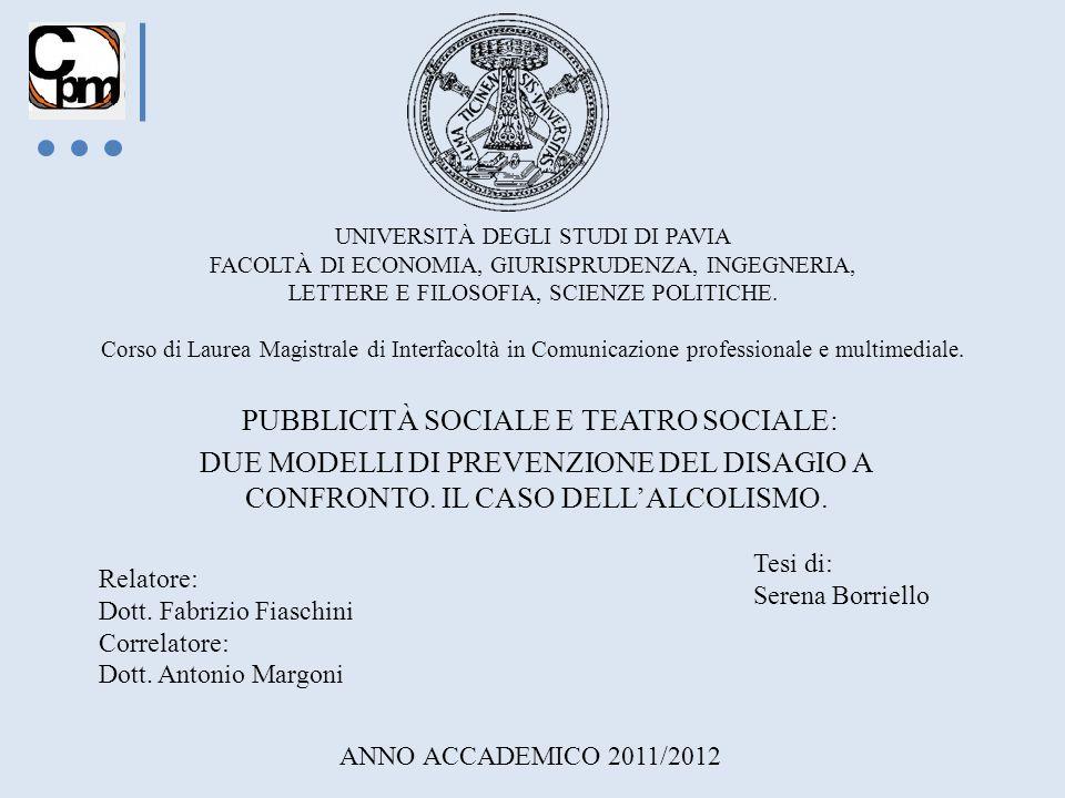 PUBBLICITÀ SOCIALE E TEATRO SOCIALE: