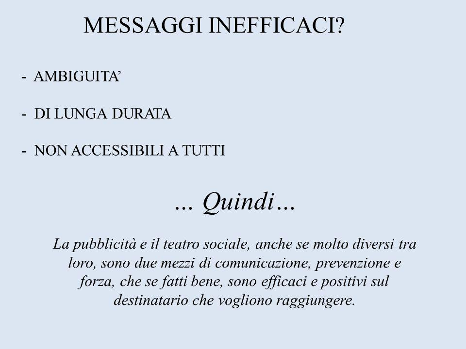 MESSAGGI INEFFICACI - AMBIGUITA' - DI LUNGA DURATA - NON ACCESSIBILI A TUTTI