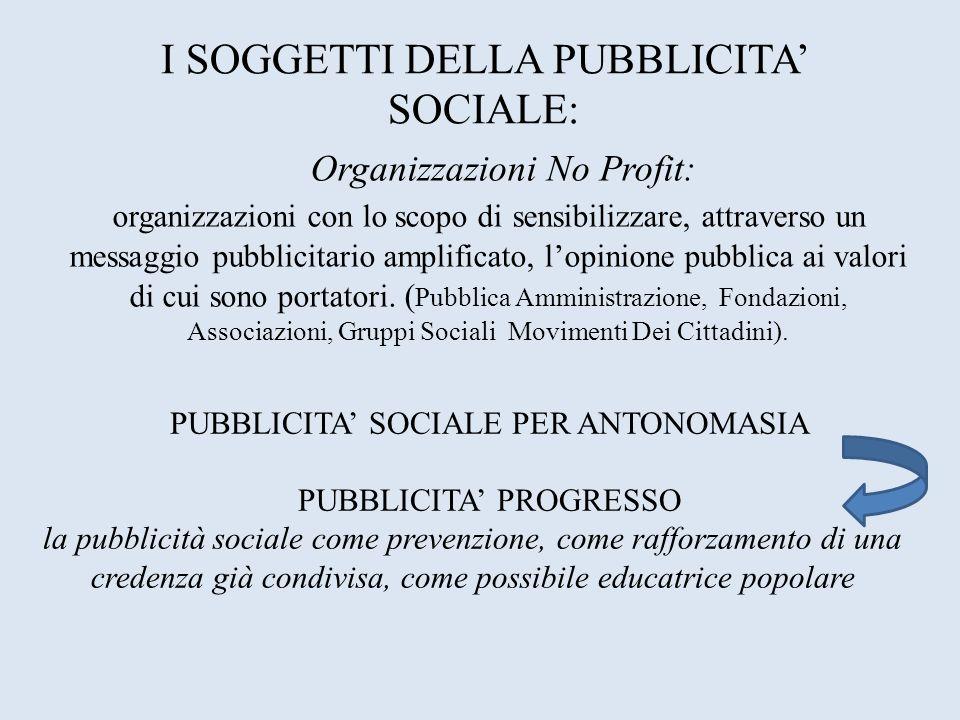 I SOGGETTI DELLA PUBBLICITA' SOCIALE: