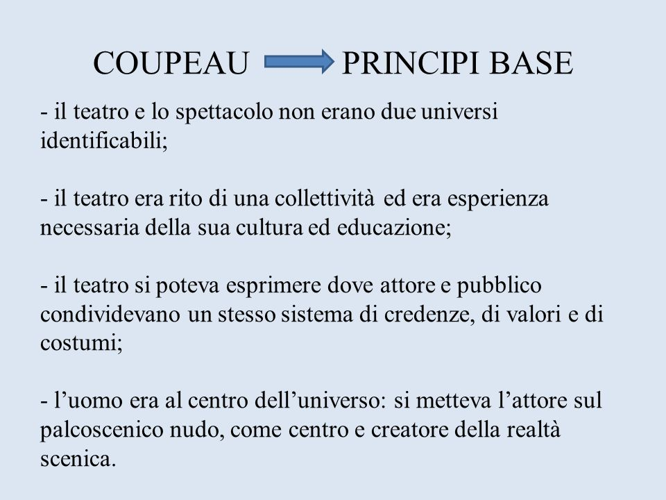 COUPEAU PRINCIPI BASE - il teatro e lo spettacolo non erano due universi identificabili;