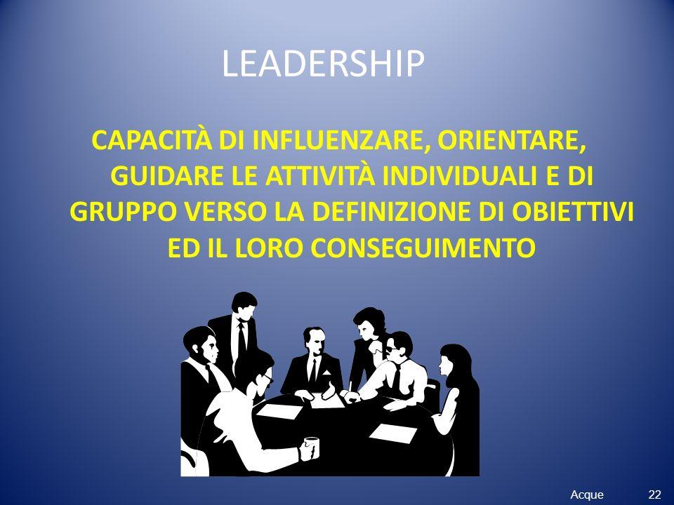 LEADERSHIP CAPACITÀ DI INFLUENZARE, ORIENTARE, GUIDARE LE ATTIVITÀ INDIVIDUALI E DI GRUPPO VERSO LA DEFINIZIONE DI OBIETTIVI ED IL LORO CONSEGUIMENTO.