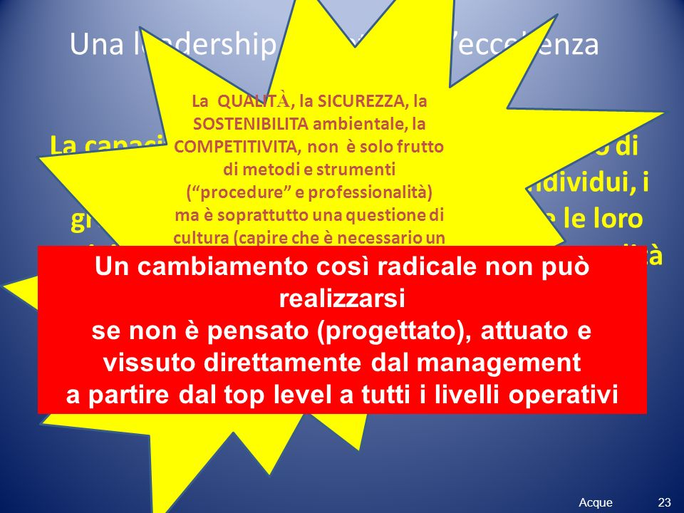 Una leadership orientata all'eccellenza