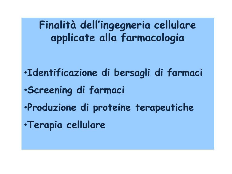 Finalità dell'ingegneria cellulare applicate alla farmacologia