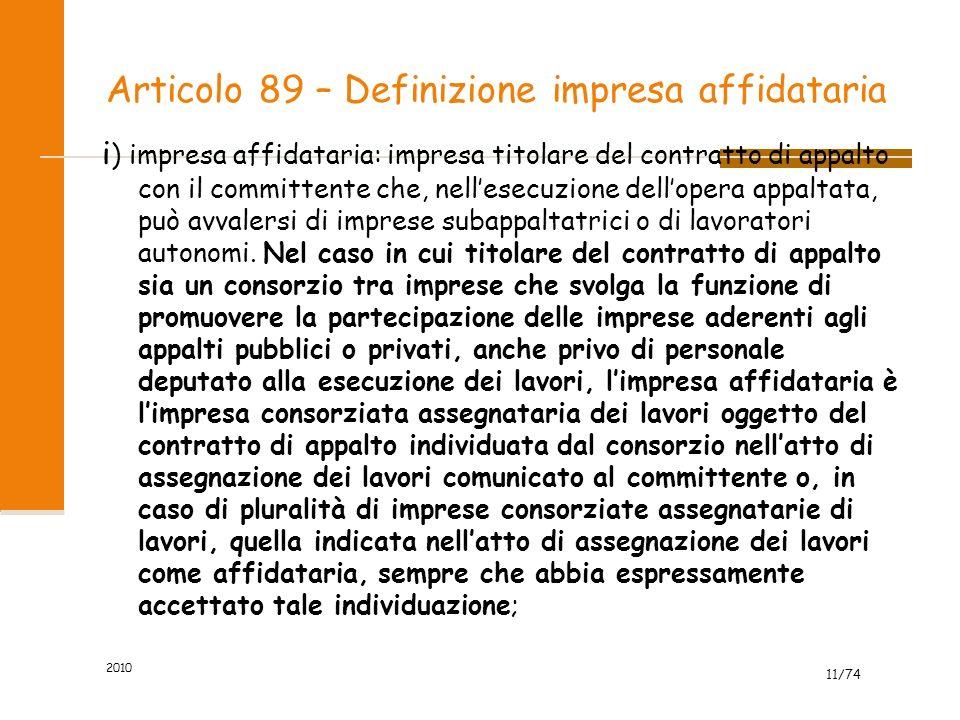 Articolo 89 – Definizione impresa affidataria