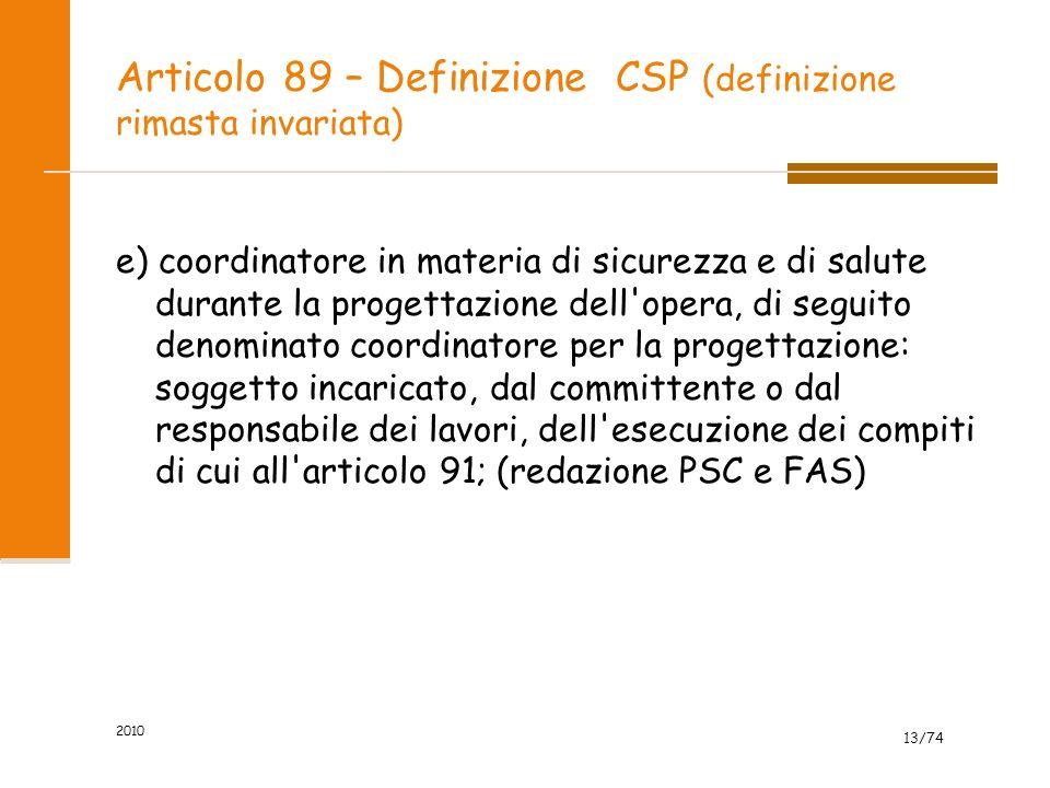 Articolo 89 – Definizione CSP (definizione rimasta invariata)