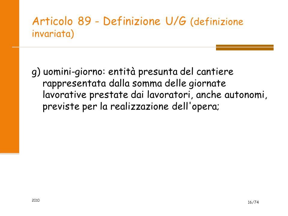 Articolo 89 - Definizione U/G (definizione invariata)
