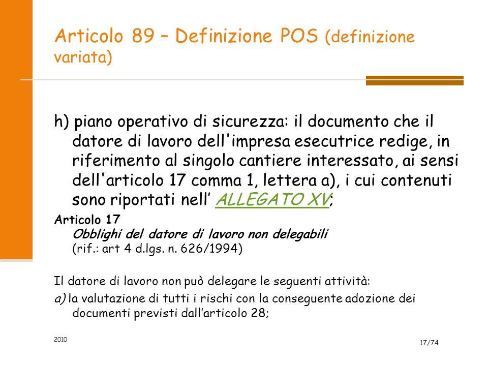 Articolo 89 – Definizione POS (definizione variata)