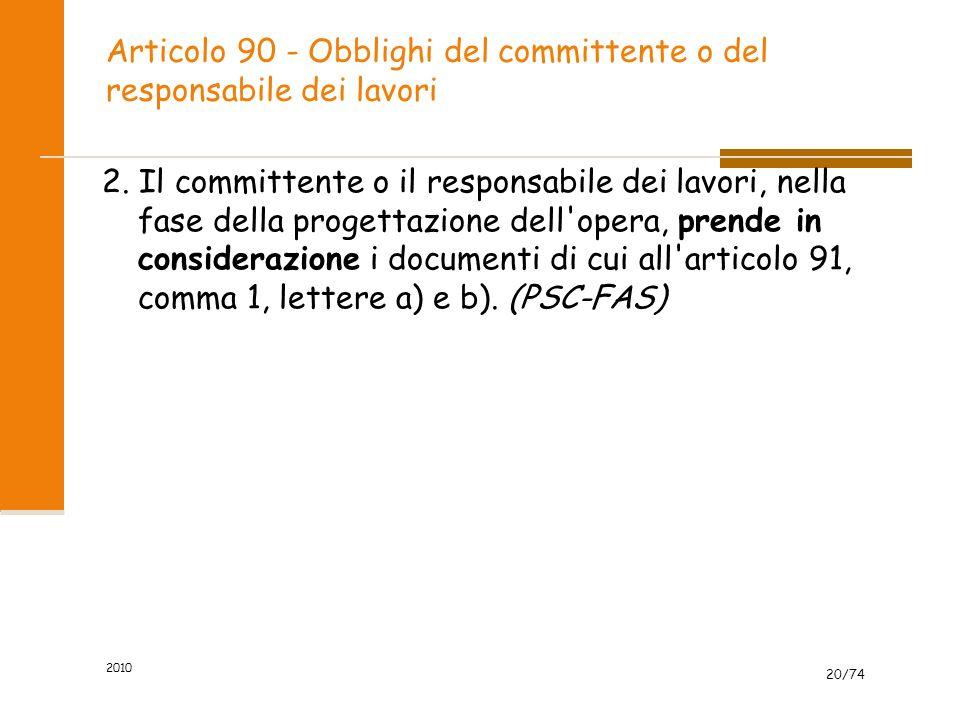 Articolo 90 - Obblighi del committente o del responsabile dei lavori