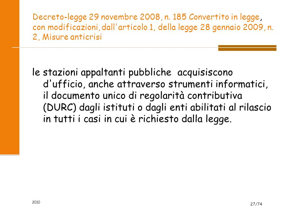 Decreto-legge 29 novembre 2008, n