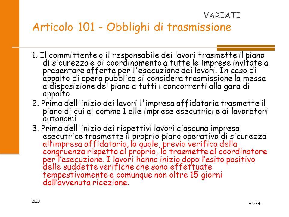 Articolo 101 - Obblighi di trasmissione