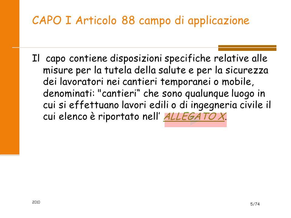 CAPO I Articolo 88 campo di applicazione