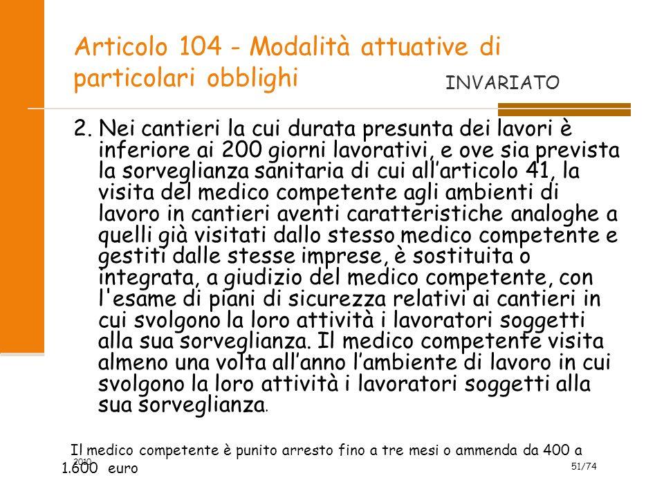 Articolo 104 - Modalità attuative di particolari obblighi