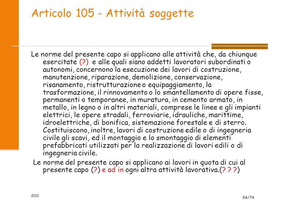 Articolo 105 - Attività soggette