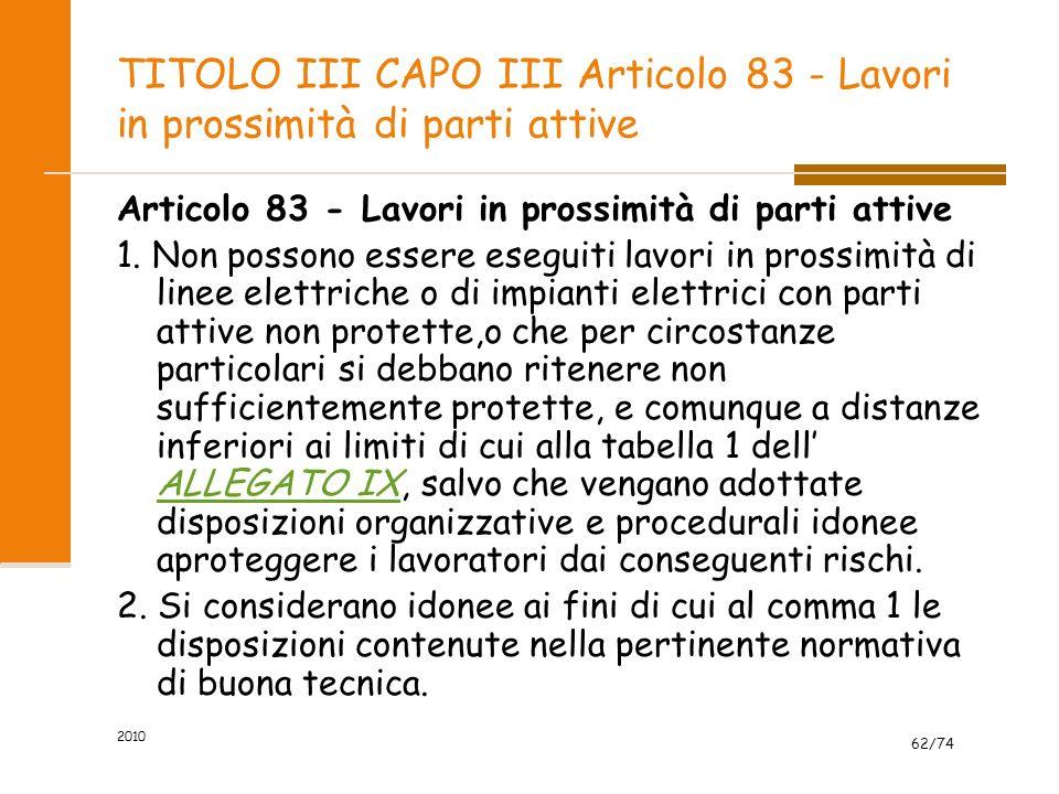 TITOLO III CAPO III Articolo 83 - Lavori in prossimità di parti attive