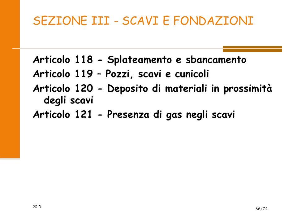 SEZIONE III - SCAVI E FONDAZIONI