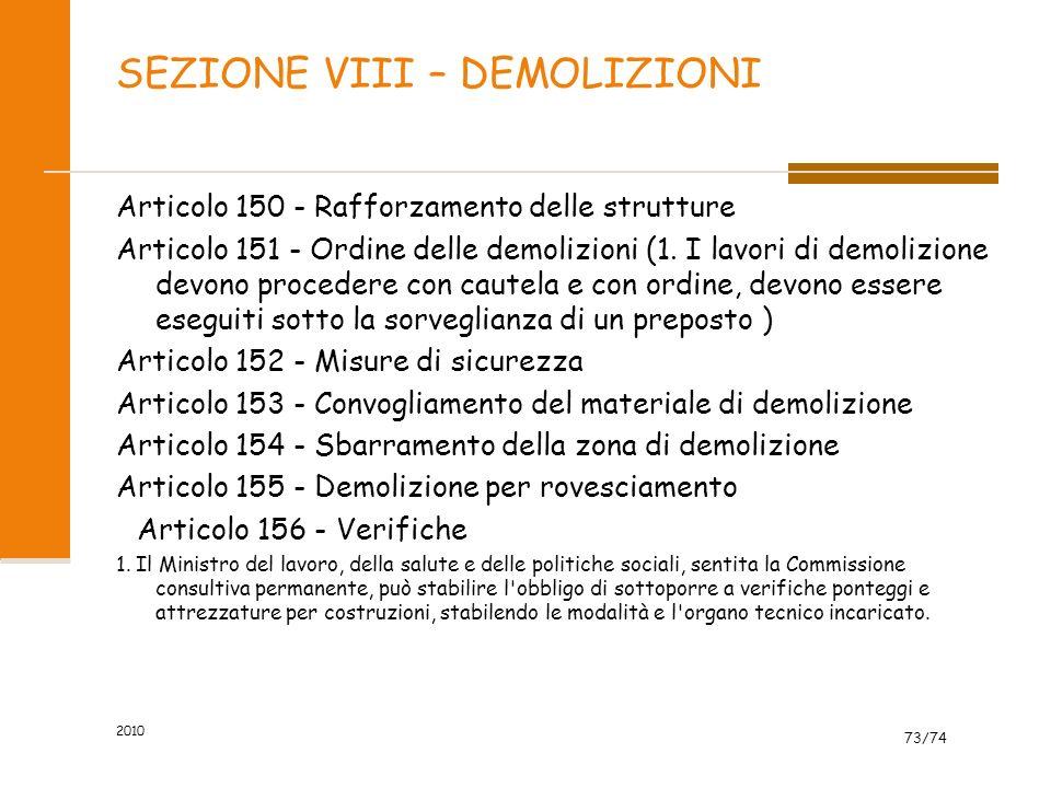 SEZIONE VIII – DEMOLIZIONI