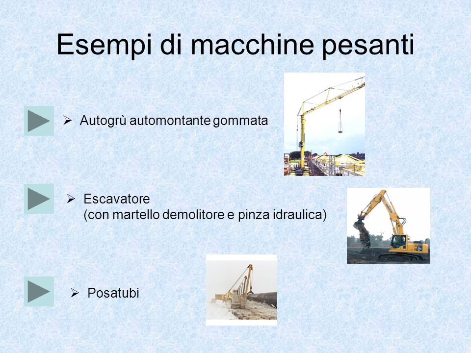 Esempi di macchine pesanti