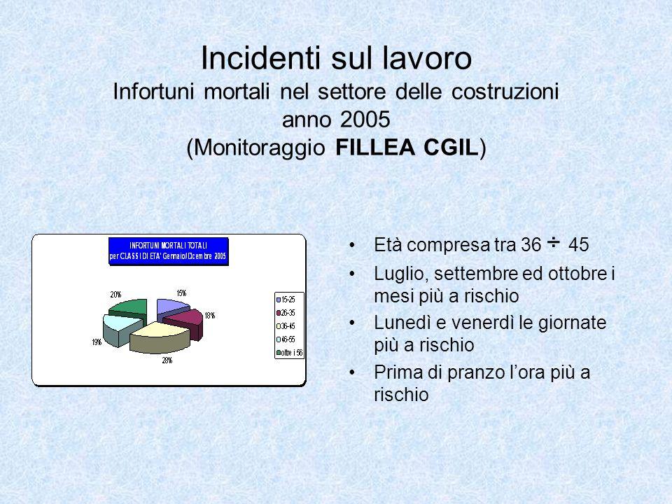 Incidenti sul lavoro Infortuni mortali nel settore delle costruzioni anno 2005 (Monitoraggio FILLEA CGIL)