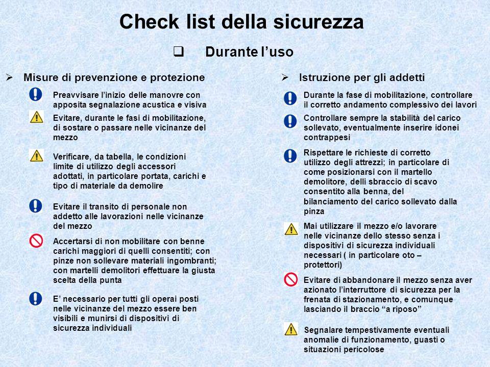 Check list della sicurezza