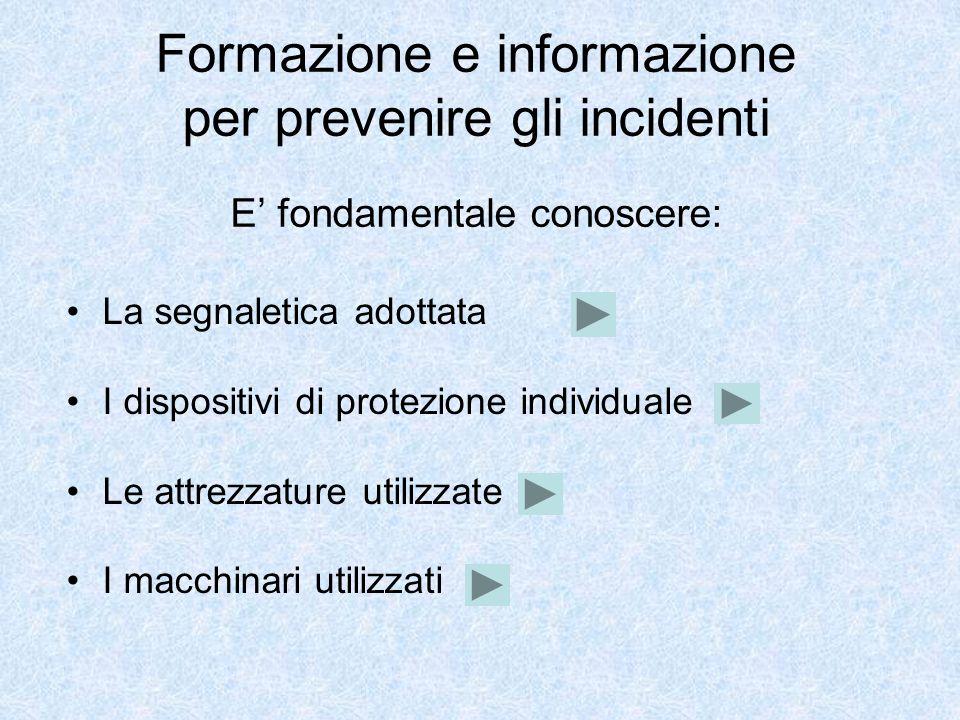 Formazione e informazione per prevenire gli incidenti E' fondamentale conoscere: