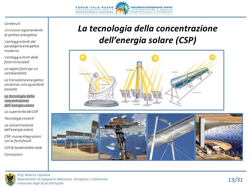 La tecnologia della concentrazione dell'energia solare (CSP)