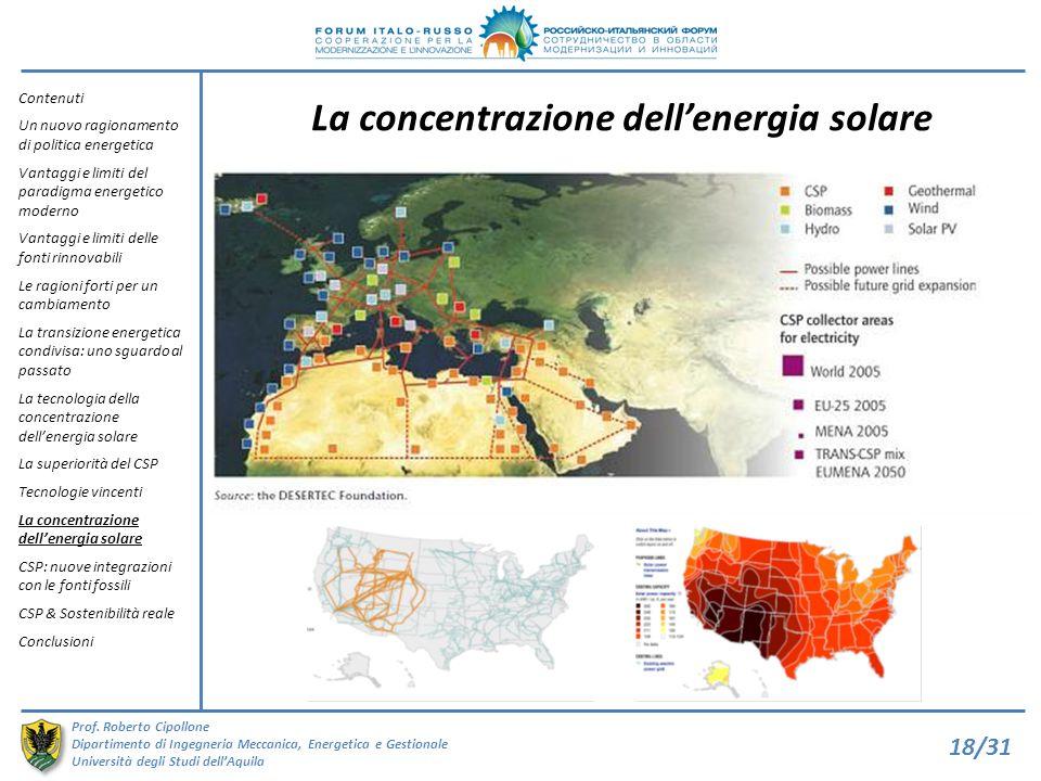La concentrazione dell'energia solare