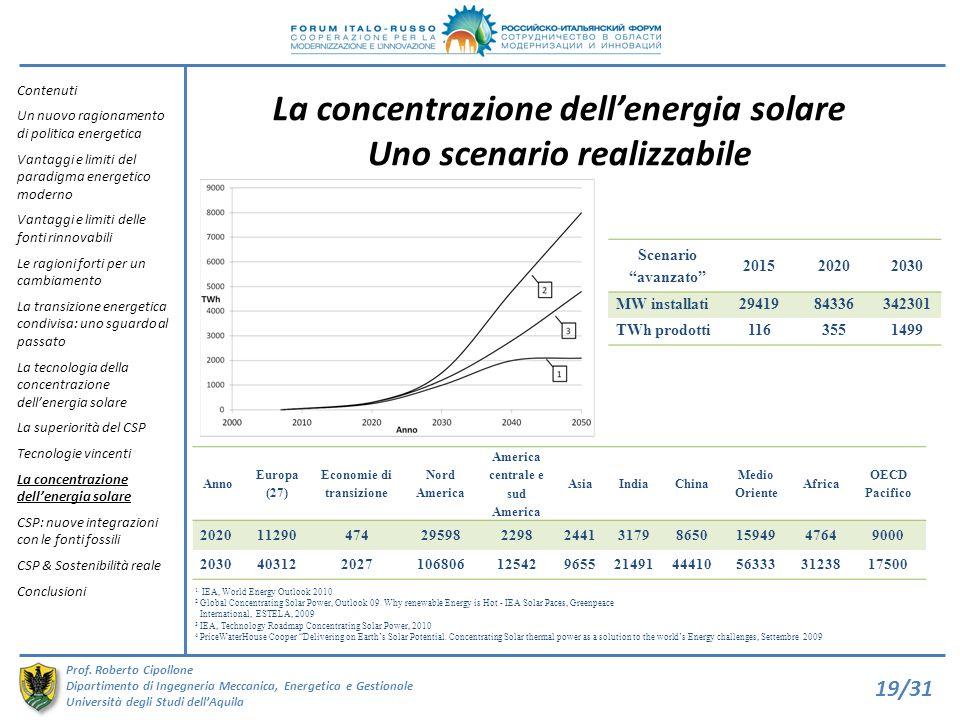 La concentrazione dell'energia solare Uno scenario realizzabile