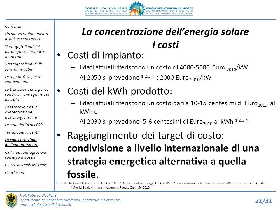 La concentrazione dell'energia solare I costi