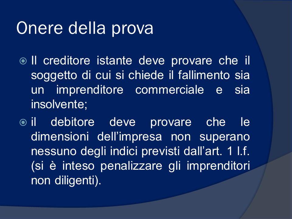 Onere della prova Il creditore istante deve provare che il soggetto di cui si chiede il fallimento sia un imprenditore commerciale e sia insolvente;