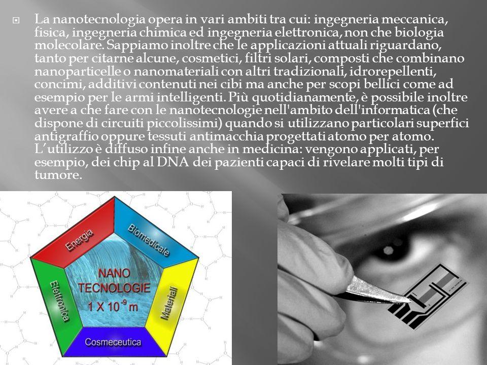 La nanotecnologia opera in vari ambiti tra cui: ingegneria meccanica, fisica, ingegneria chimica ed ingegneria elettronica, non che biologia molecolare.