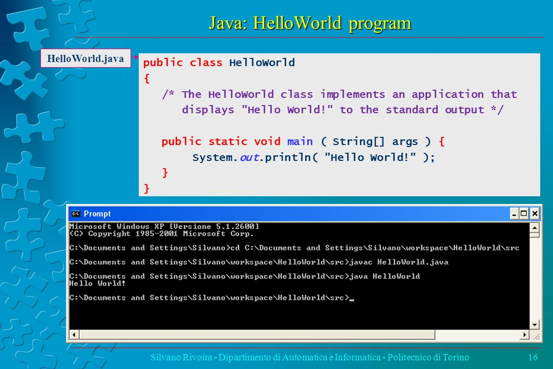 Java: HelloWorld program