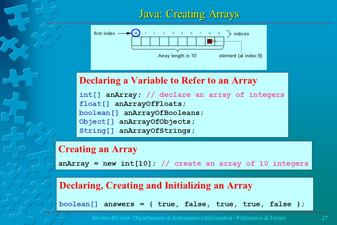Java: Creating Arrays Declaring a Variable to Refer to an Array