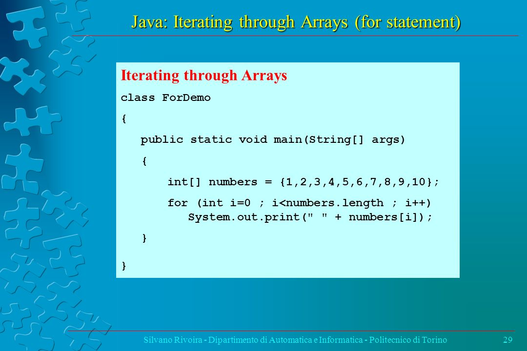 Java: Iterating through Arrays (for statement)