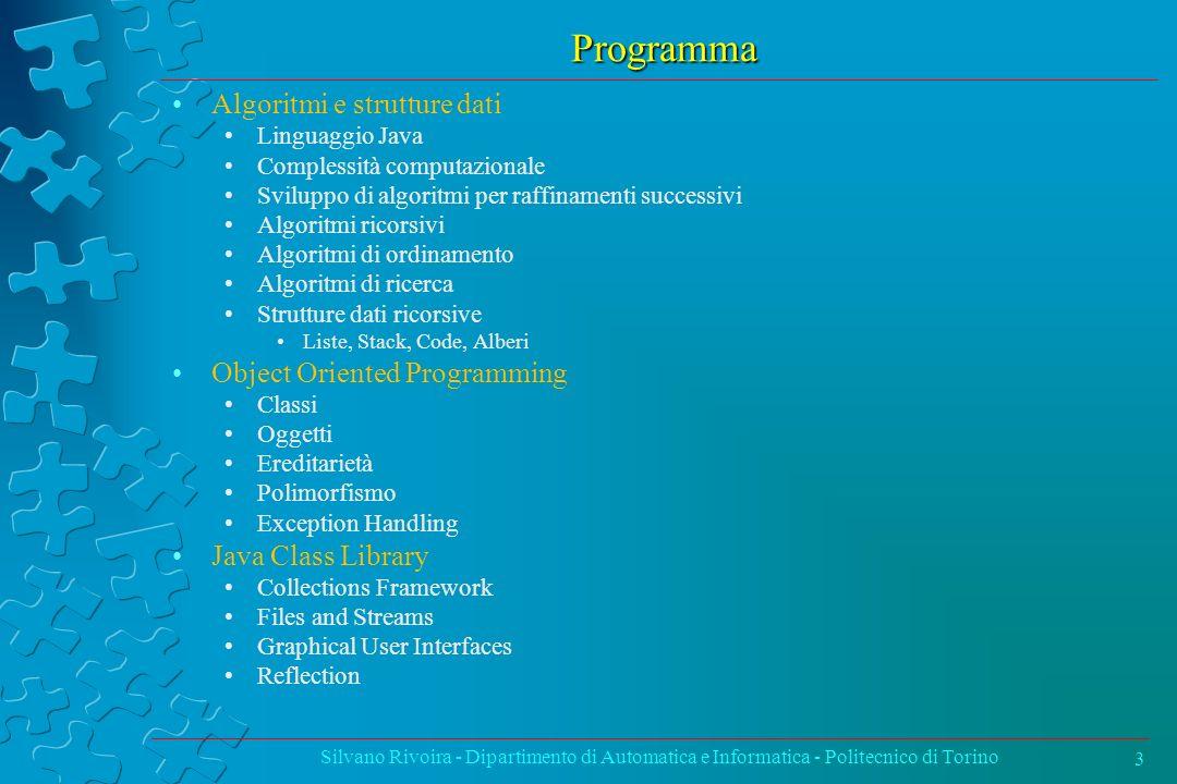 Programma Algoritmi e strutture dati Object Oriented Programming