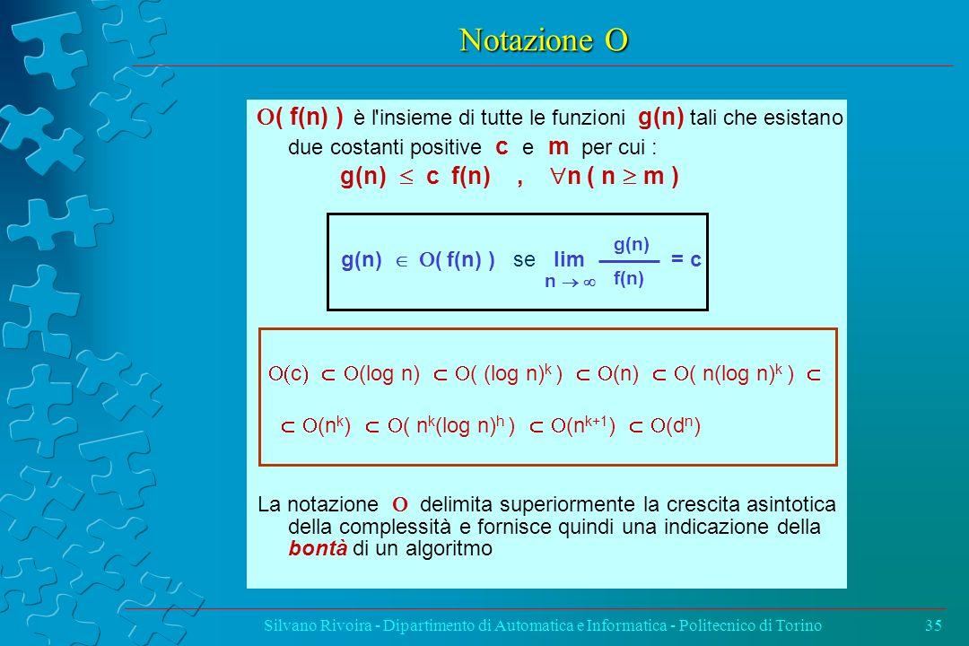 Notazione O O( f(n) ) è l insieme di tutte le funzioni g(n) tali che esistano due costanti positive c e m per cui :
