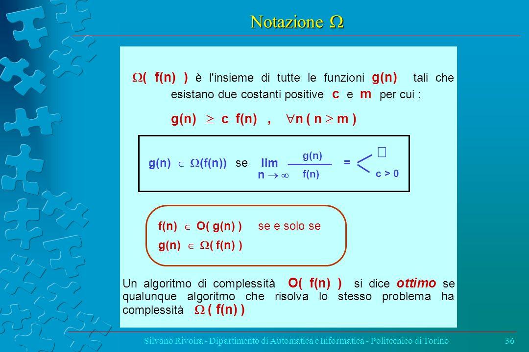 Notazione W W( f(n) ) è l insieme di tutte le funzioni g(n) tali che esistano due costanti positive c e m per cui :